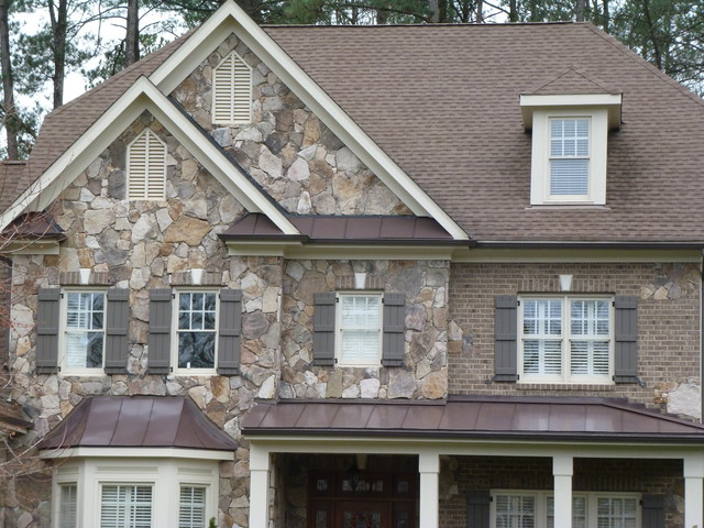 Natural stone shake shutters metal roofing craftsman Craftsman roofing