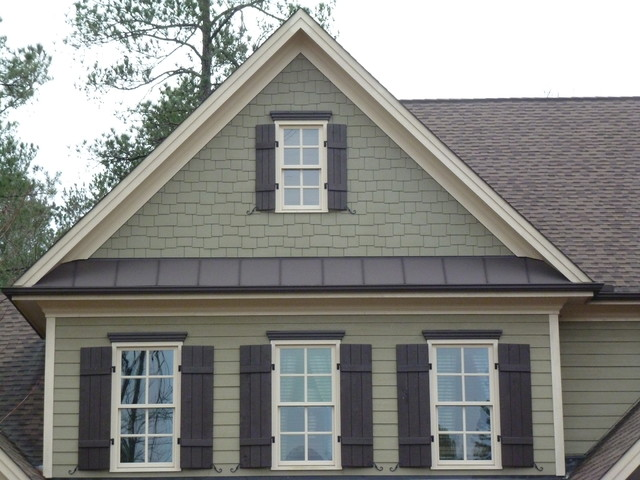 Natural stone shake shutters metal roofing craftsman for Metal roof craftsman home