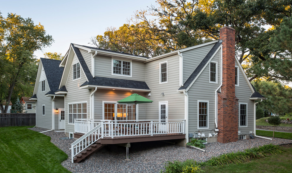 Inspiration for a transitional gray two-story concrete fiberboard gable roof remodel in Minneapolis