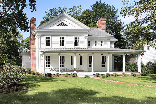 New 1850 39 s greek revival farmhouse farmhouse exterior for Traditional farmhouse plans