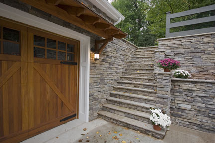 New Attached Garage And Stone Retaining Wall Detail To