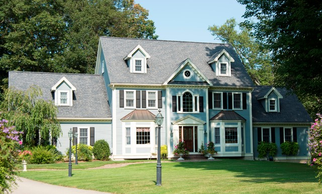 New england blue colonial traditional exterior New england architects