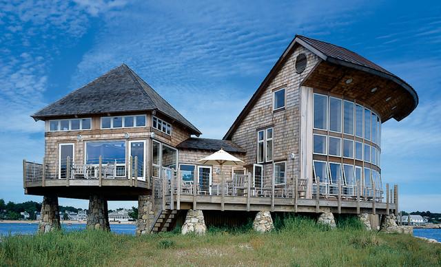 New england island house beach style exterior for New england house
