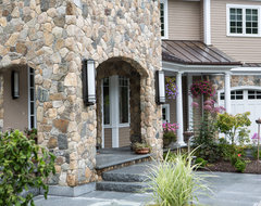 New England Style Design: Fireplace, Chimney, Columns, and Stone Siding rustic exterior
