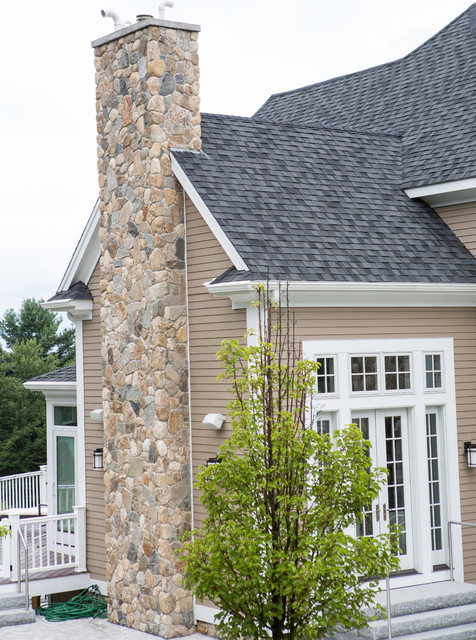 Design Chimney new england style design: fireplace, chimney, columns, and stone