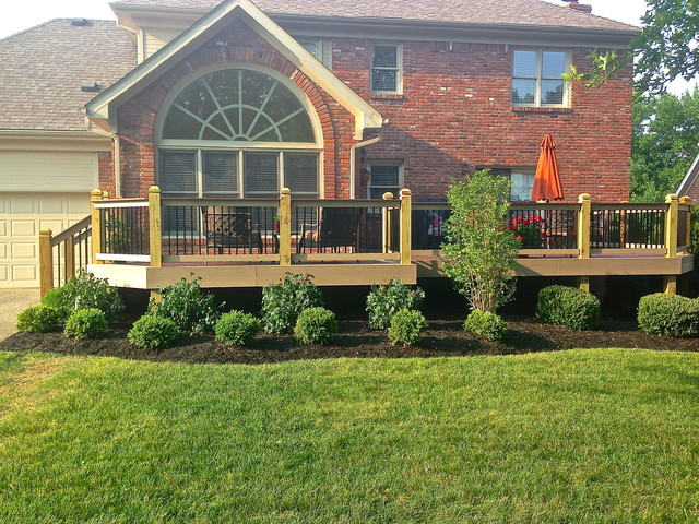 New Landscaping Around New Deck Traditional Exterior