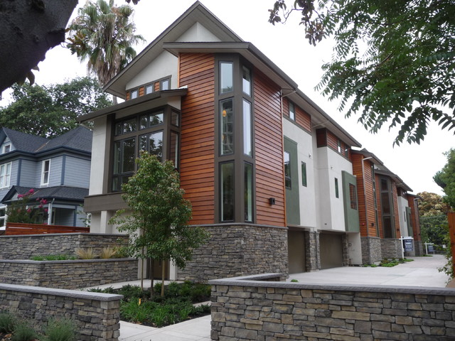 New townhouse palo alto ca contemporary exterior for Modern townhouse exterior