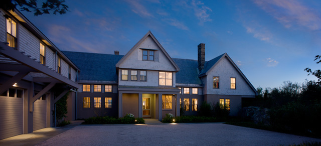 Inspiration for a large victorian gray two-story wood gable roof remodel in Providence
