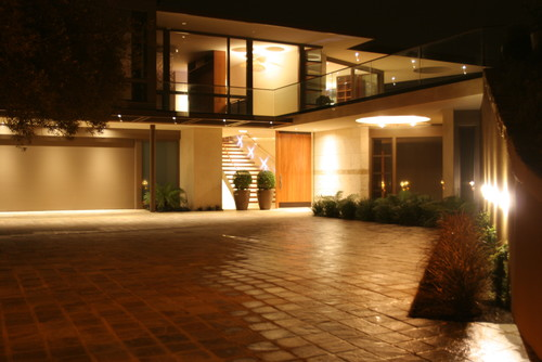 Night scape of Driveway and Front Landscaping