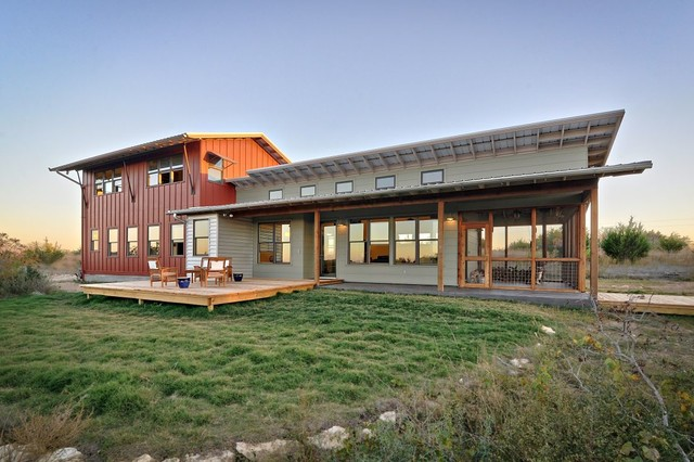 Inspiration for a rustic metal exterior home remodel in Austin