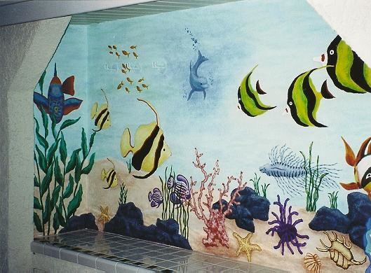 Ocean underwater mural traditional exterior los for Exterior mural painting