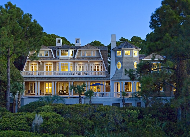Ocean View at dusk traditional-exterior