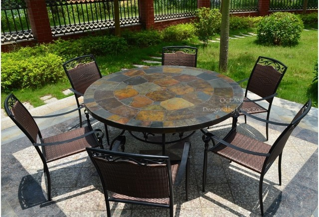 Oceane 63 quot mosaic slate stone garden patio table