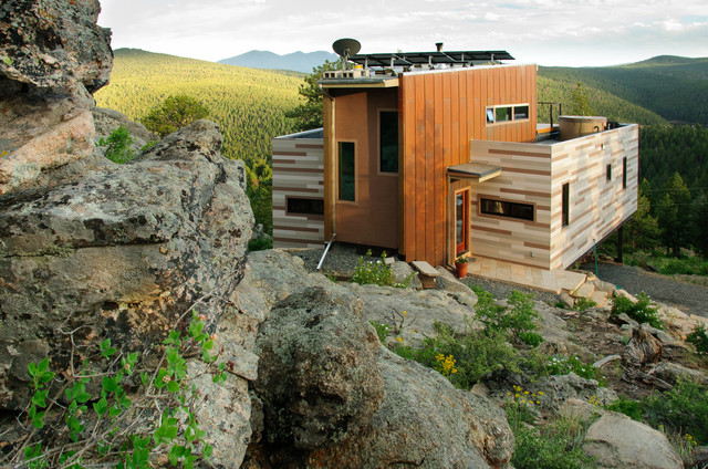 Off Grid Mountain Container Home Industrial Exterior