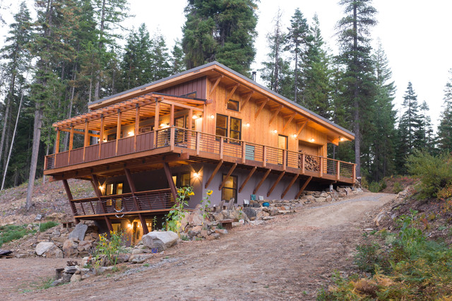 Off the grid house in the mountains rustic exterior for Off the grid building plans