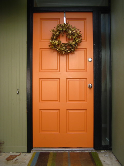 Orange front door - Orange exterior paint decor ...