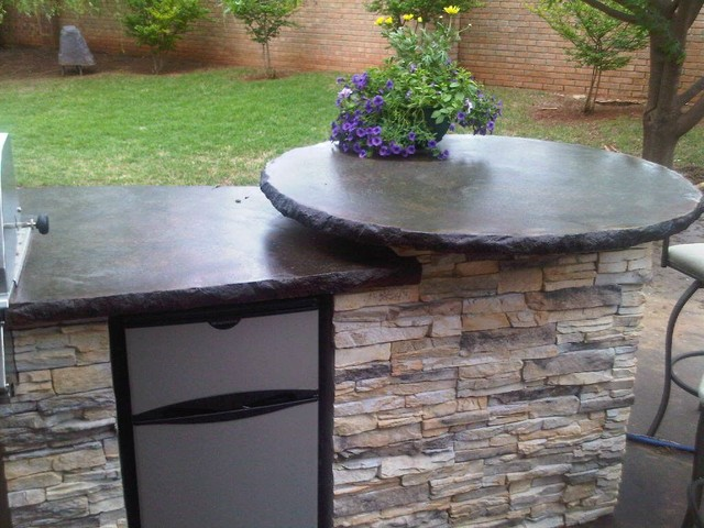 Outdoor concrete countertops traditional exterior for Concrete kitchen countertop ideas