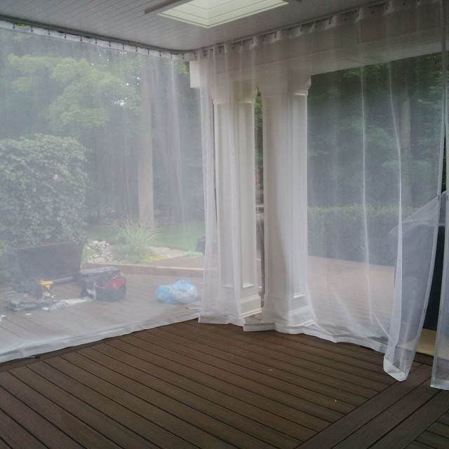 Outdoor Curtains Mosquito Drapes Porch Screens Contemporary Exterior Toronto By Rescom