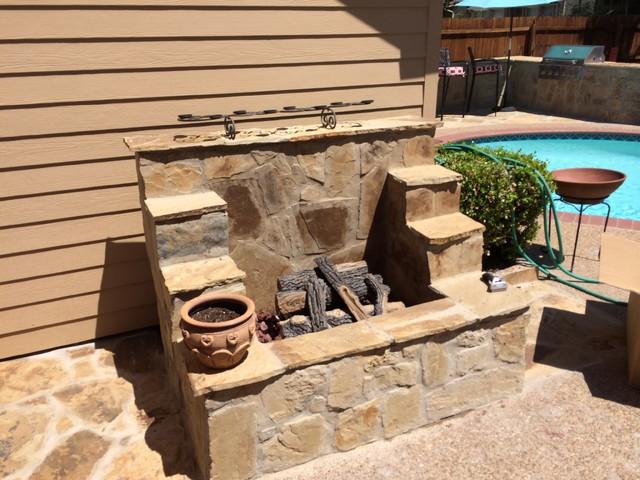 Outdoor Fireplace Arlington TX Rustic Exterior