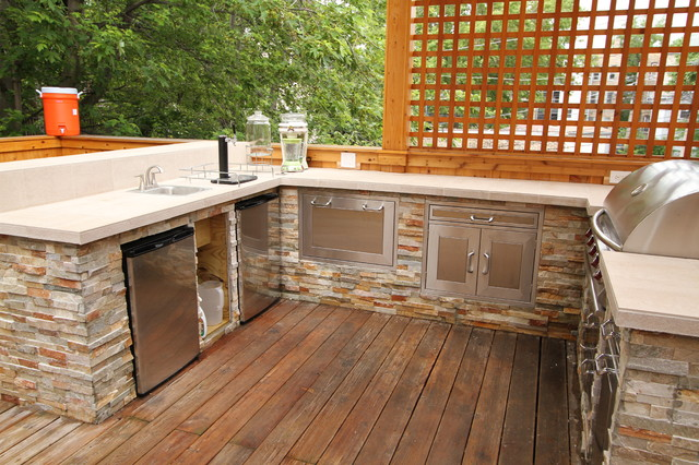 Outdoor Kitchen And Deck Contemporary Exterior Chicago By Emery Custom Homes