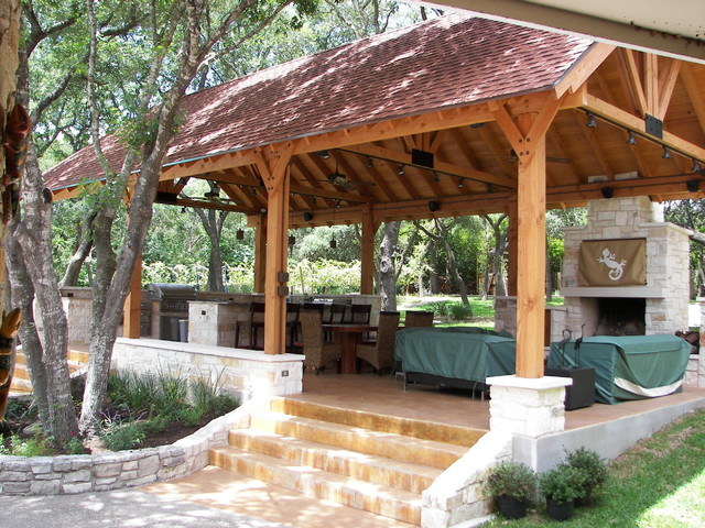 Outdoor kitchen living cabana contemporary exterior austin