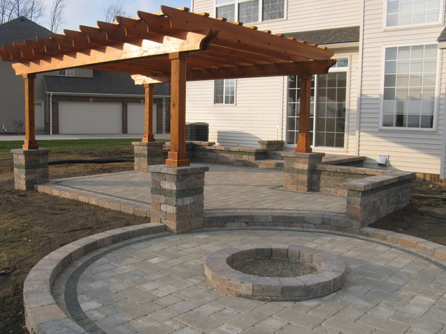 Outdoor Room with Firepit and Pergola exterior