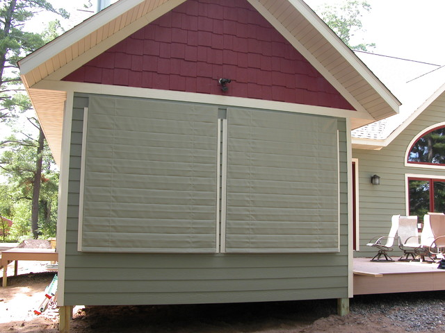 outdoor shades cover screen porch traditional exterior