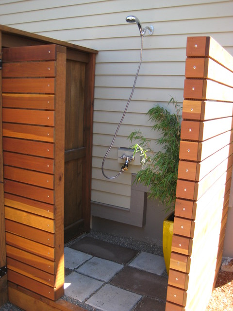 Outdoor Shower Exterior By Conscious Construction Inc