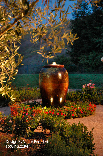 Overflowing Urn Fountain mediterranean exterior
