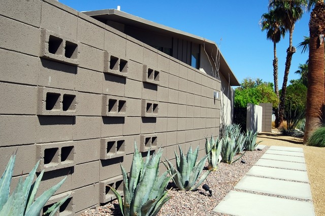 Palm Springs Mid Century Modern Block Privacy Wall Midcentury Exterior Los Angeles By