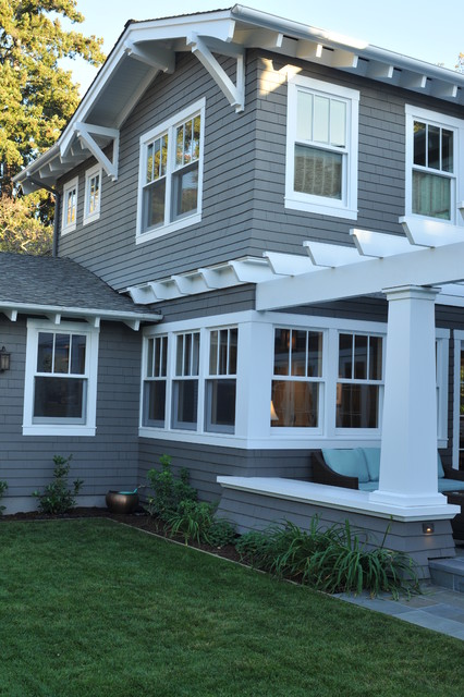 Palo alto arts and crafts craftsman exterior san francisco by fgy architects for Exterior window trim craftsman style