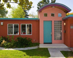 Palo Alto Eichler-Style Home Remodel with Color, Standing Seam Metal Roof modern exterior