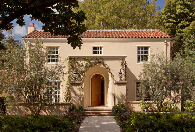 Large Mediterranean Beige Two Story Stucco Gable Roof Idea In San Francisco With A Tile