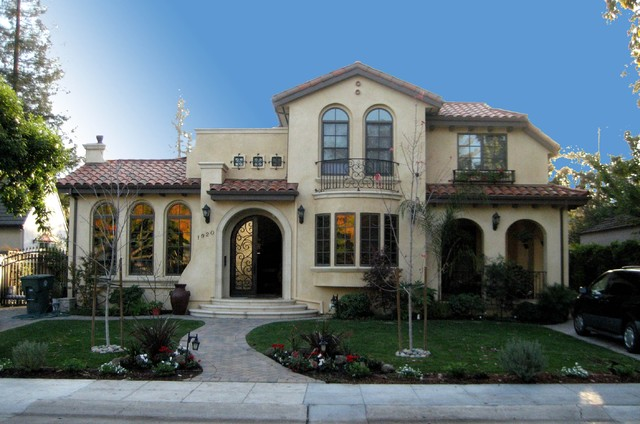 Palo alto spanish style house for Spanish style exterior