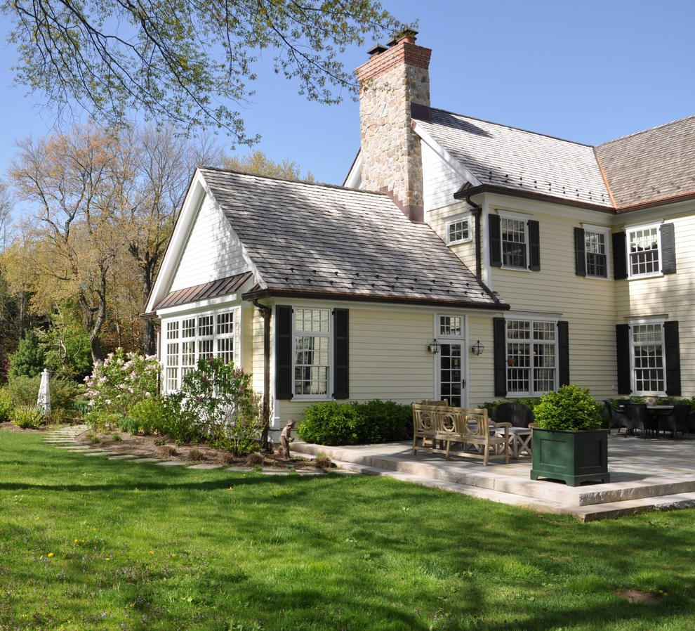 Traditional wood exterior home idea in Newark