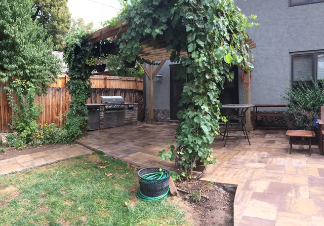 Paver Patio With Pergola Grill Island And Fire Pit