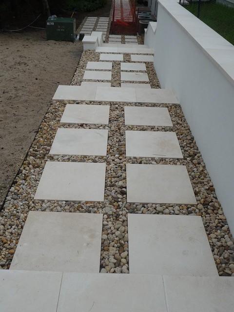 Pearl Limestone Walkway Mediterranean Exterior