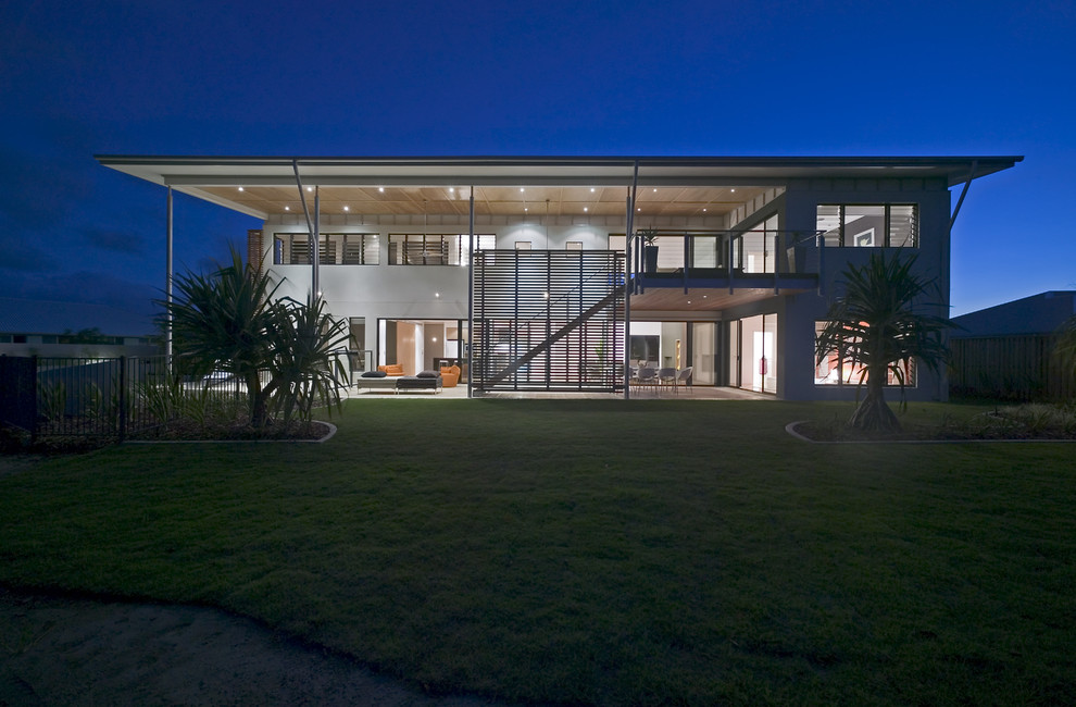 Design ideas for a large contemporary two-storey concrete white exterior in Sunshine Coast.