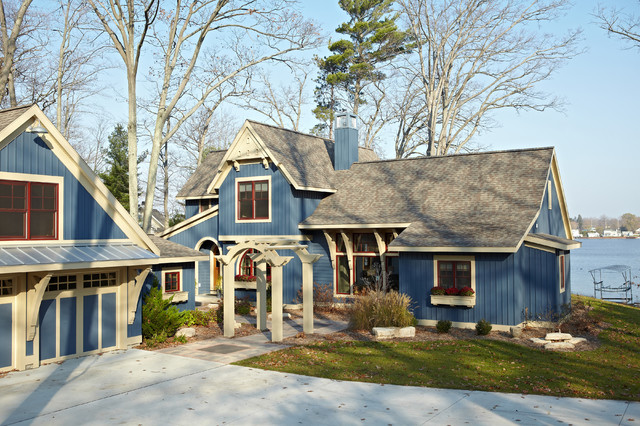 Pentwater lake cottage victorian exterior grand rapids by new urban home builders for Lake house exterior paint colors
