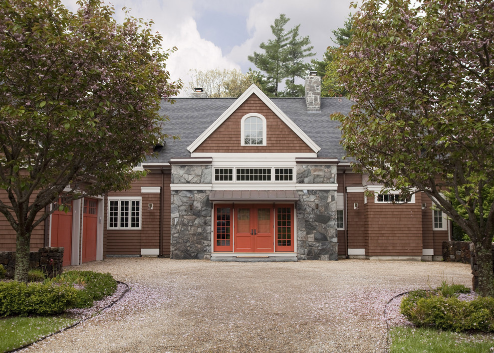 Example of a classic stone gable roof design in Boston