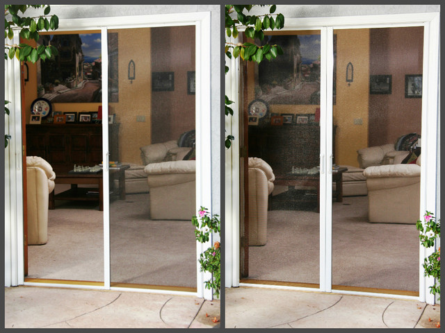 Phantom retractable screen doors traditional exterior for Phantom sliding screen doors