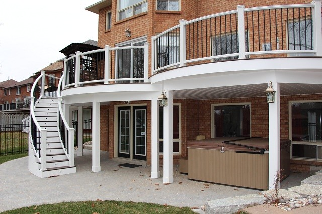 Pickering curved deck traditional exterior toronto for New home builders in pickering