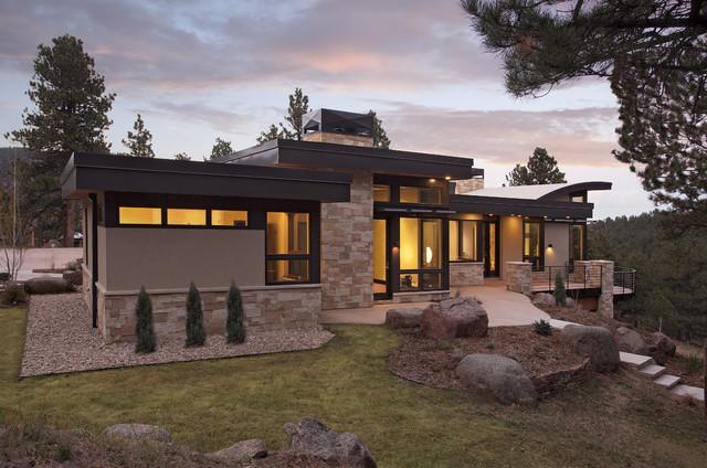 Pine brook boulder mountain residence exterior modern for Mountain home builders colorado