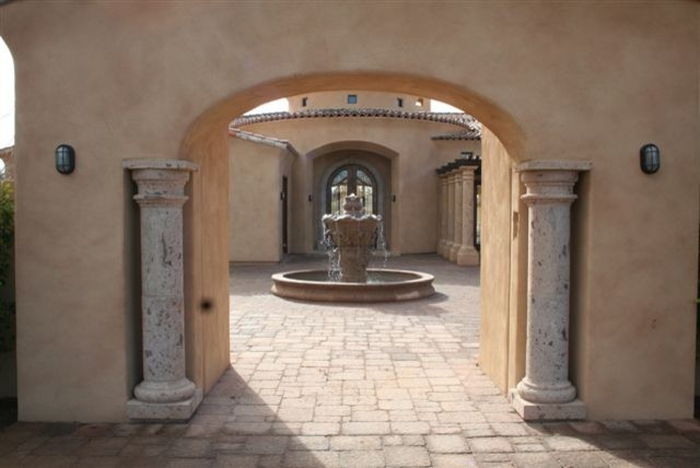Pinon Entry Columns and Fountain traditional-exterior