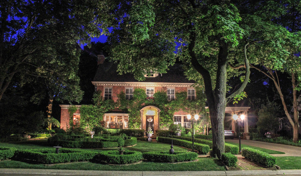 Inspiration for a timeless brick exterior home remodel in Detroit