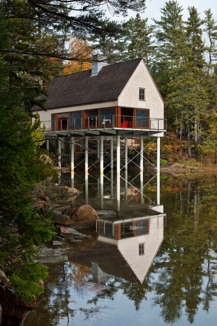 Pond House Rustic Exterior Portland Maine By