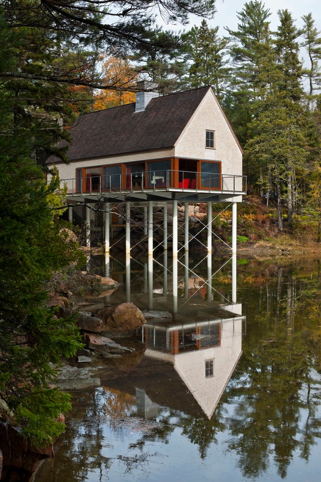 Mountain style wood exterior home photo in Portland Maine