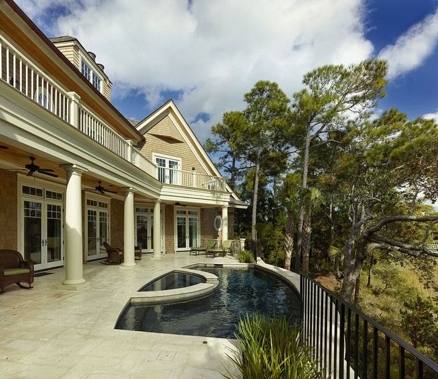 Pool deck and upper balconies capture every view traditional-exterior