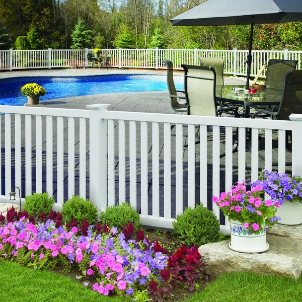 Greenbrier Exterior: Pool Fences: PVC/Vinyl: Spaced Picket Styles: Greenbriar