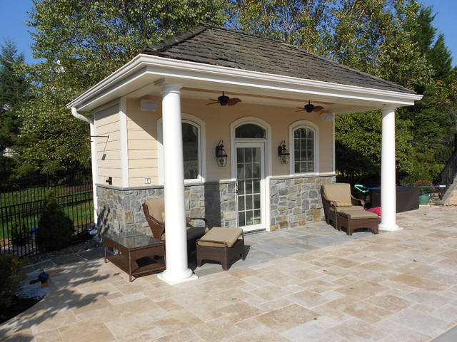 Pool House New Town Square traditional-exterior